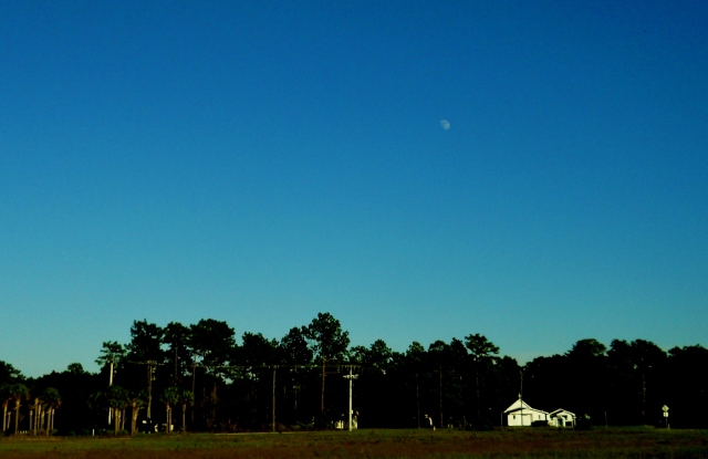 Moon In Blue October Sky and Small Church  ⓒBearspawprint2014
